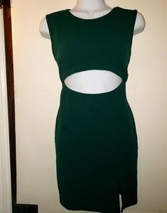 NWT Nasty Gal Dark Green Peephole Mini Dress